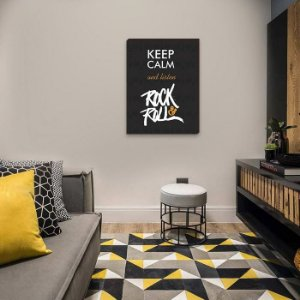 Quadro Keep calm and listen Rock´nRoll [BoxMadeira]