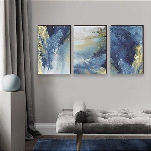 Trio de Quadros Decorativos Abstrato Artístico Azul com Dourado [Box de Madeira]