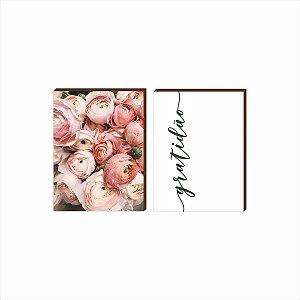 Dupla de quadros Flores+Gratidão Verde [boxdemadeira]