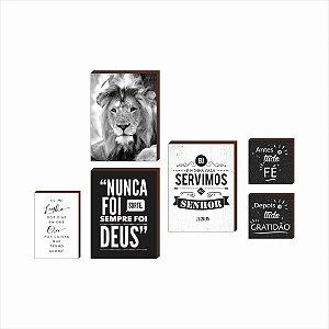 Kit de quadros Leão+Frases [Box de Madeira]
