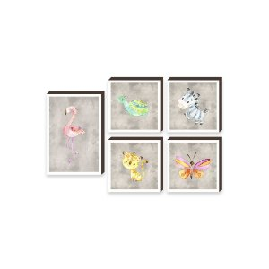 Kit de quadros infantil Flamingo e amigos [Box de Madeira]