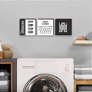 Trio de quadros Regras da lavanderia QUADRADO [BoxMadeira]