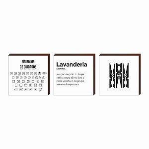 Trio de quadros Lavanderia+Símbolos+Grampo de roupa QUADRADO [BoxMadeira]