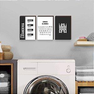 Trio de quadros Regras da lavanderia [Box de madeira]