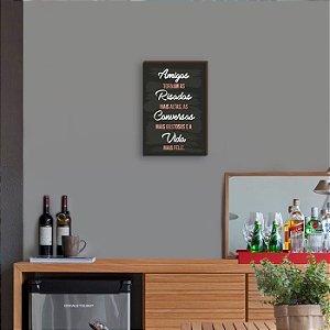 Quadro Decorativo de Bar Amigos tornam as risadas mais altas Rose Gold [BoxMadeira]