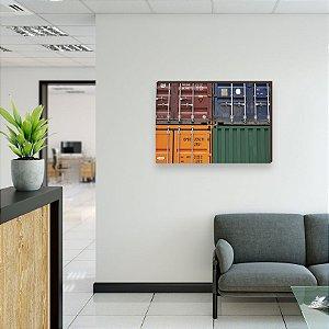 Quadro decorativo Container e Navios Comex Mod. 02 [Box de Madeira]