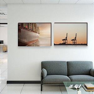 Dupla de quadros Comex Container e Navios Pôr do Sol [Box de Madeira]