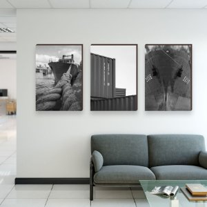 Trio de quadros  Container e navios Comex Preto e Branco[Box de Madeira]
