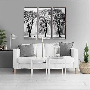 Trio de quadros Paisagem Árvores Preto e Branco [BoxMadeira]