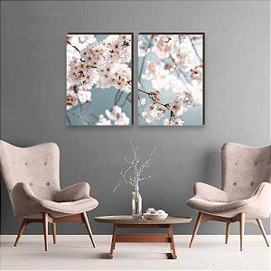 Dupla de quadros Paisagem Flor de Cerejeira [Box de Madeira]