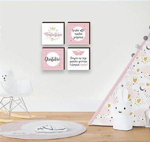 Quarteto de quadros Nome + Sonhe Alto + Gratidão + Oração ROSA [BOX DE MADEIRA]