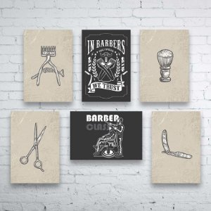 Kit PLAQUINHAS Barbearia Barber Shop Mod. 02