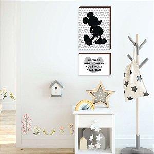 Dupla de quadros infantil Mickey + Se você pode sonhar você pode realizar [BOX DE MADEIRA]
