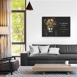 Quadro decorativo Leão Iluminada Horizontal [box de Madeira]