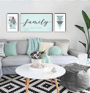 Trio de Quadros Family Cimentado + Geométricos Tiffany [BoxMadeira]
