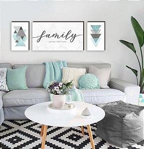 Trio de Quadros Family Marmorizado + Geométricos Tiffany [BoxMadeira]