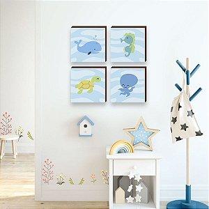 Quarteto de quadros Bichos Fundo do mar [BOX DE MADEIRA]