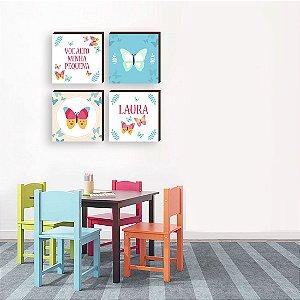 Quarteto de quadros infantil Borboleta + Nome + Voe Alto [BOX DE MADEIRA]