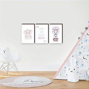 Trio de quadros Bichos + Balão + Sonhe Alto [BoxMadeira]