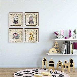 Quarteto de quadros infantil Animais menina [BOX DE MADEIRA]