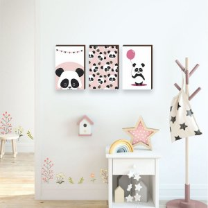 Trio de quadros Panda Rosa [BoxMadeira]