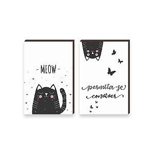 Dupla de quadros Meow Gatinhos e borboletas [boxdemadeira]