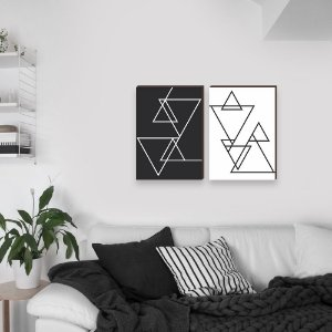 Dupla de quadros Linhas Geométricas [boxdemadeira]