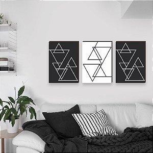 Trio de Quadros Linhas Geométricas [BOX DE MADEIRA]
