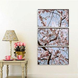 Trio de quadros Paisagem Cerejeira VERTICAL 130cm X 0,60 [BOX DE MADEIRA]