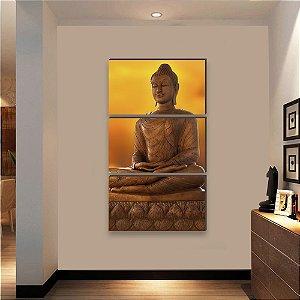 Trio de quadros Buda VERTICAL 130cm X 0,60 [BOX DE MADEIRA]