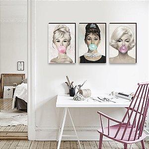 Trio de quadros Brigitte Bardot, Audrey Hepburn, Marilyn Monroe chiclete [BOX DE MADEIRA]