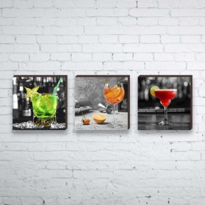 Trio de quadros Drinks [BoxMadeira]