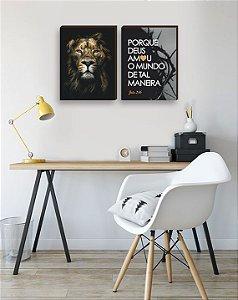 Dupla de quadros Leão iluminado + Deus amou o mundo[boxdemadeira]