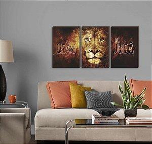 Trio de quadros Leão de Judá letra branca [BOX DE MADEIRA]