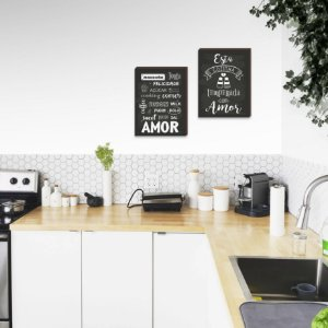 Dupla de quadros Esta cozinha é temperada com amor [Box de Madeira]