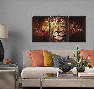 Trio de quadros Leão de Judá [BOX DE MADEIRA]