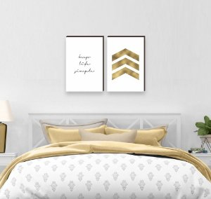 Dupla de quadros Keep Life Simple Dourado [boxdemadeira]