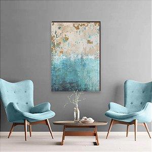 Quadro decorativo Abstrato azul e bege [box de Madeira]