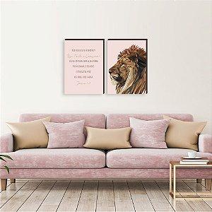 Dupla de quadros Leão de Judá vertical ROSA[boxdemadeira]