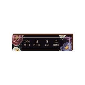 Caixinha Ho'oponopono Preto florido [BOX DE MADEIRA]