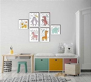Kit de quadros infantil Bichos Contorno [Box de Madeira]