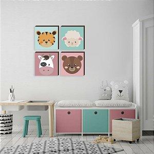 Quarteto de quadros infantil Bichos Fazendinha [BOX DE MADEIRA]