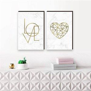 Dupla de quadros Love + Coração geométrico Dourado [boxdemadeira]