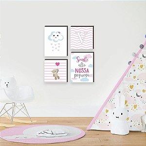 Quarteto de quadros infantil Nuvem + Sonhe alto nossa pequena + ursa [box de madeira]