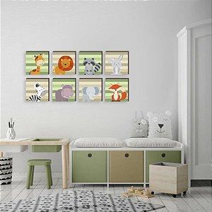 Kit de quadros Bichos verde e bege [box de madeira]