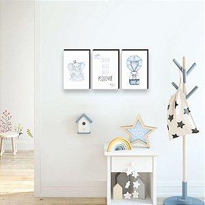 Trio de quadros infantil Bichos + Balão + Sonhe Alto MENINO [BoxMadeira]