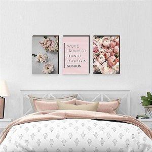 Trio de quadros Nada é tão nosso quanto nossos sonhos Florido [Box de madeira]