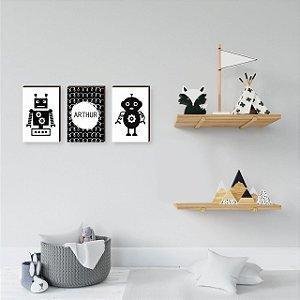 Trio de quadros infantil Robô + Nome [BoxMadeira]
