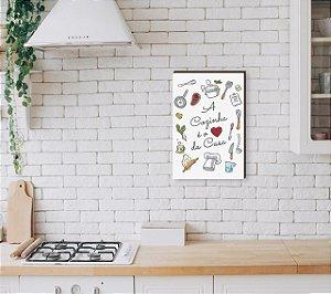 Quadro Decorativo A cozinha é o coração da casa Utensílios e coração [BoxMadeira]