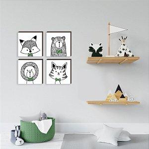 Quarteto de quadros Bichos Gravatinha VERDE [BOX DE MADEIRA]